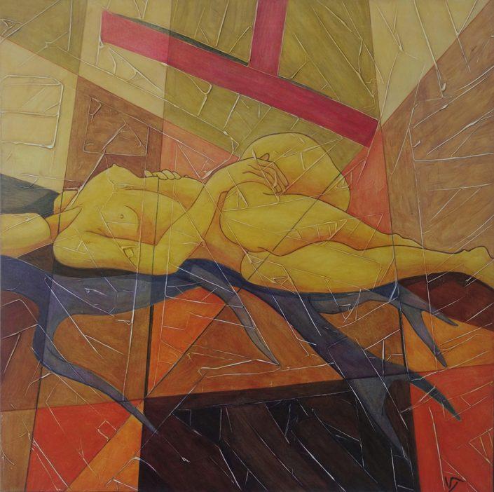 Vanessa Thyes, Apparente armonia (2016), 70 x 70 cm, tempera on canvas