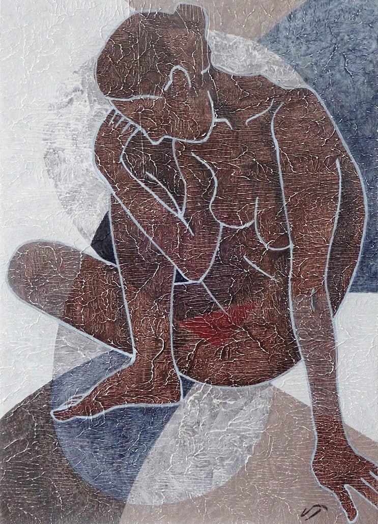 Vanessa Thyes, Chiocciola (2016), 28 x 39 cm, tempera su legno