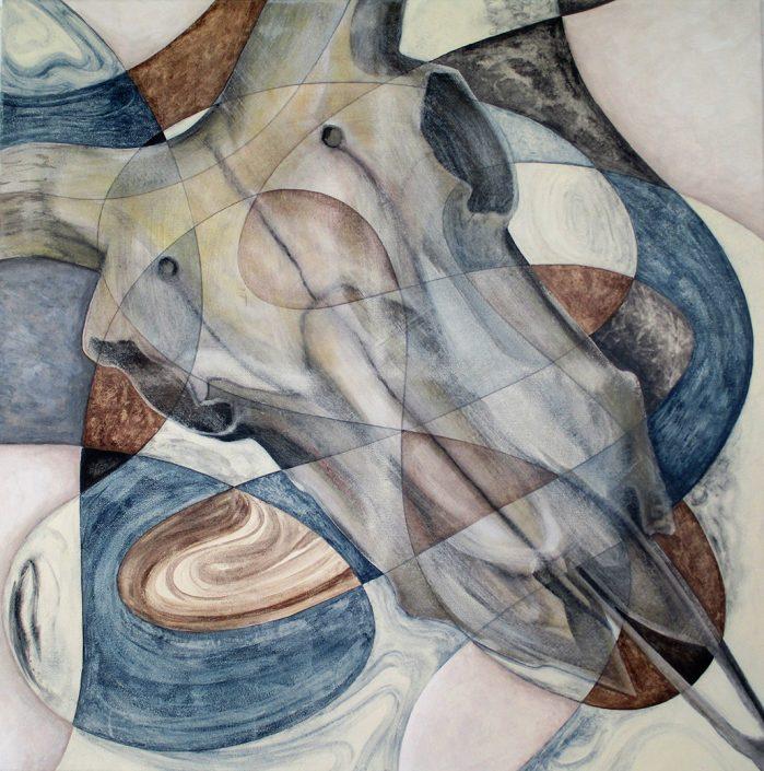 Vanessa Thyes, Il passare del tempo I (2016), 80 x 80 cm, tempera on canvas