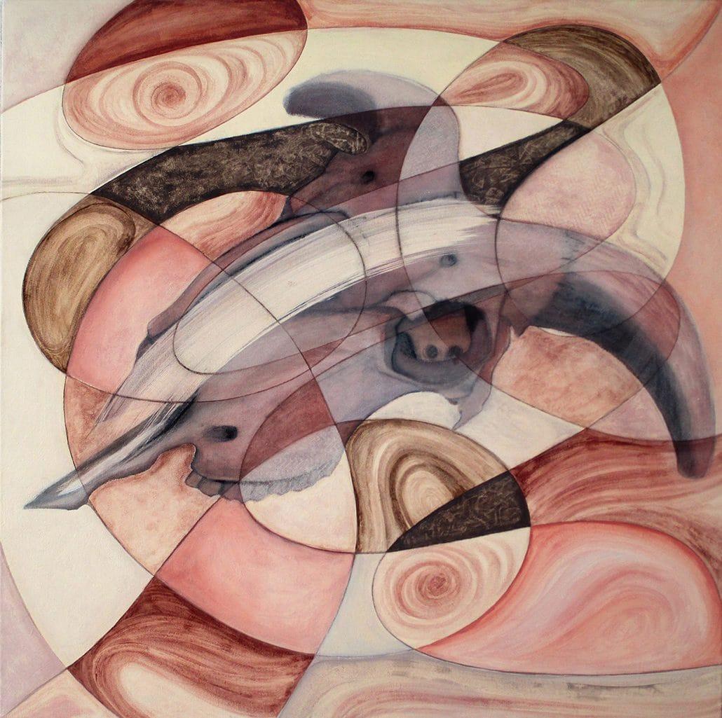 Vanessa Thyes, Il passare del tempo II (2016), 80 x 80 cm, tempera su tela