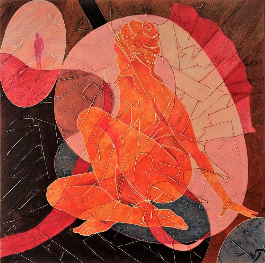 Vanessa Thyes, Incontro imminente (2016), 70 x 70 cm, tempera su tela