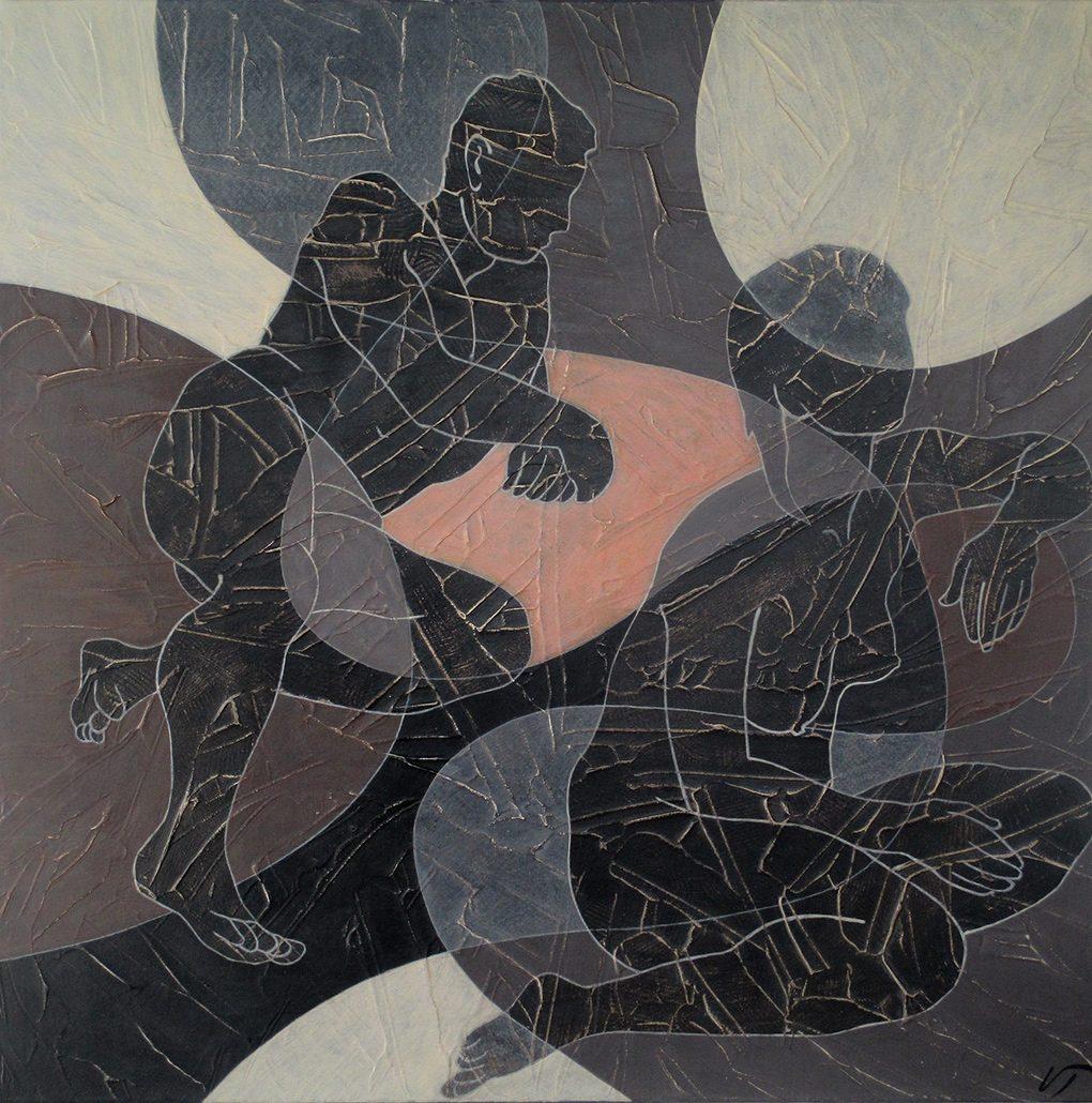Vanessa Thyes, Riflessioni I (2016), 60 x 60 cm, tempera su tela