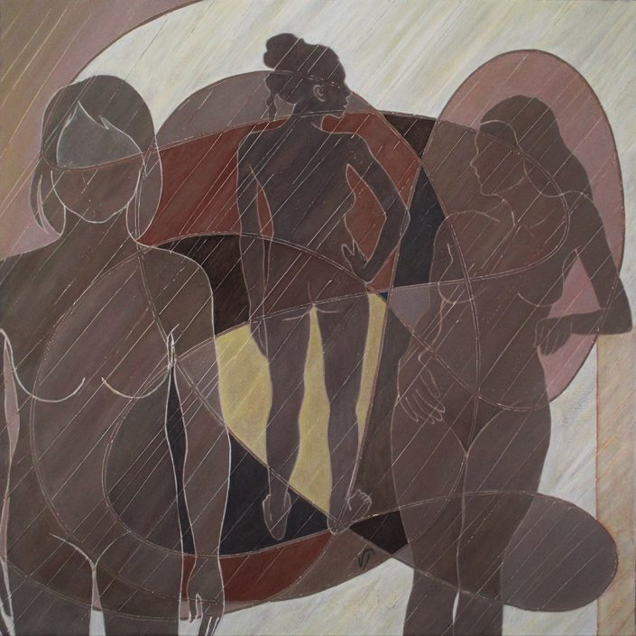 Vanessa Thyes, Seule (2016), 80 x 80 cm, tempera on canvas