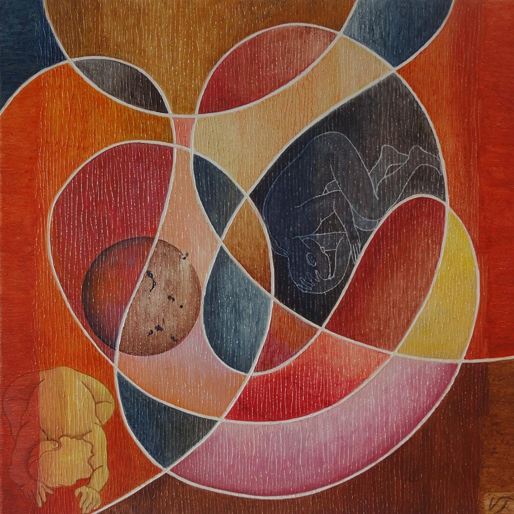 Vanessa Thyes, Gestazioni (2017), 70 x 70 cm, tempera su tela