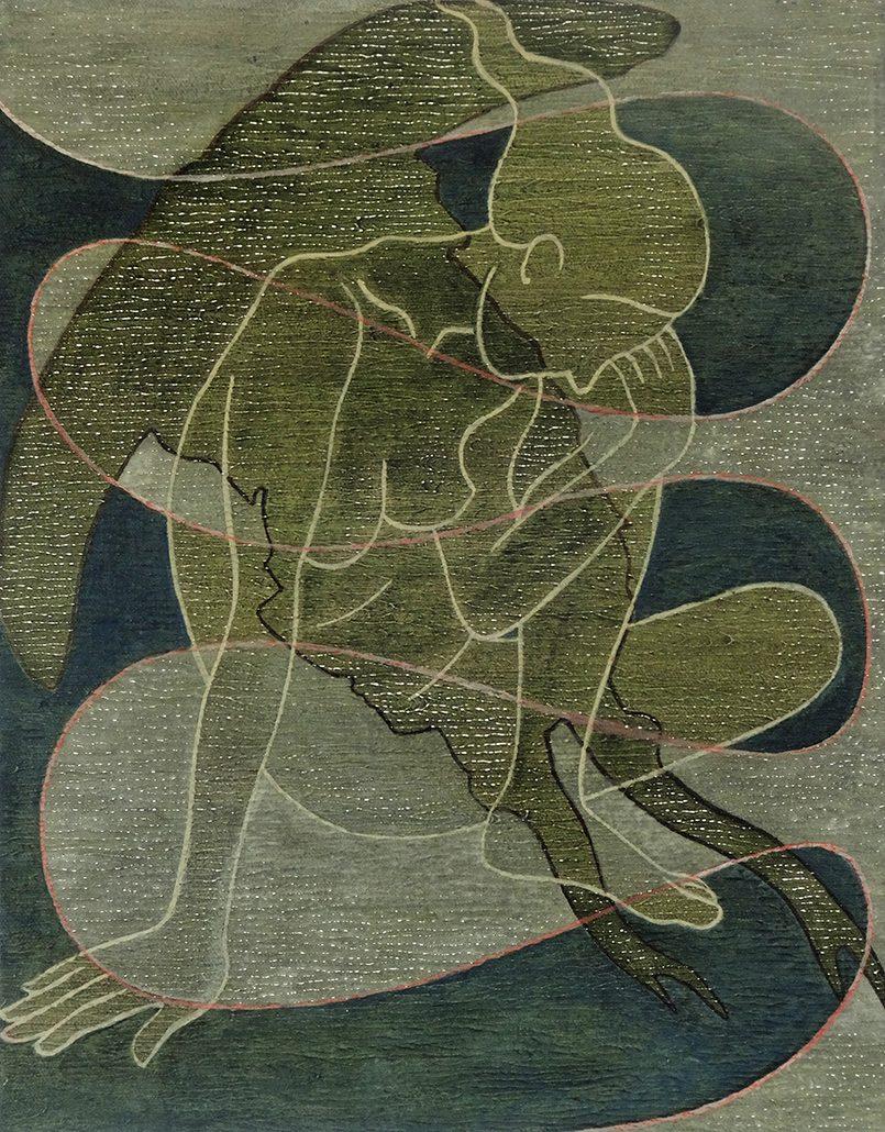 Vanessa Thyes, Green (2017), 35 x 45 cm, tempera su tela