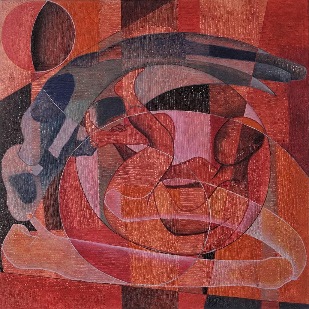Vanessa Thyes, Jonas (2017), 80 x 80 cm, tempera su tela