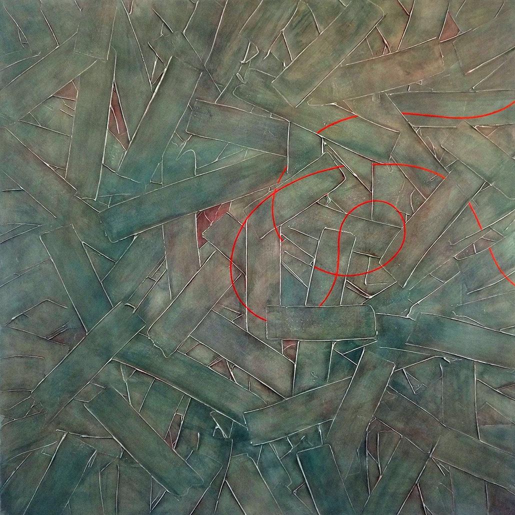 Vanessa Thyes, Fango (2018), 100 x 100 cm, tempera su tela