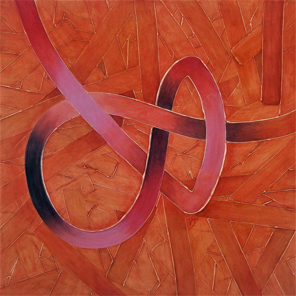 Vanessa Thyes, Salvataggio (2018), 100 x 100 cm, tempera su tela
