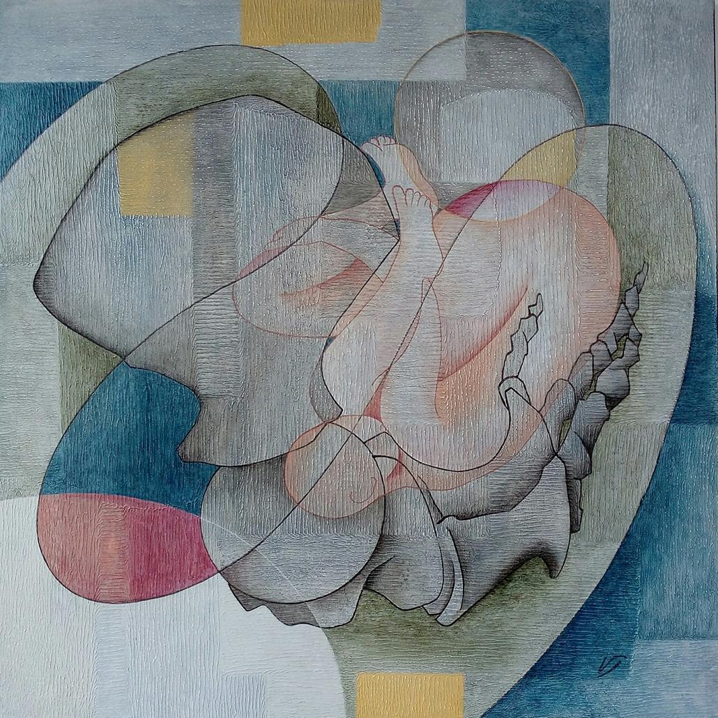 Vanessa Thyes, Rifugio (2016), 80 x 80 cm, tempera su tela