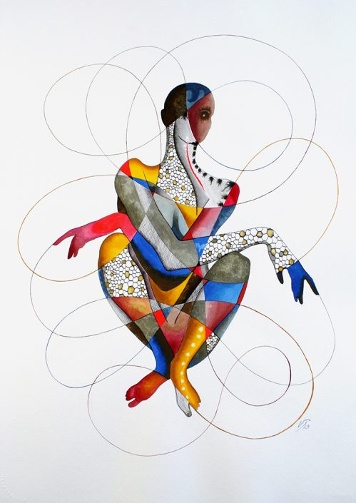Vanessa Thyes, Angelika (2013), 56 x 76 cm, watercolors, pencil and ink on paper