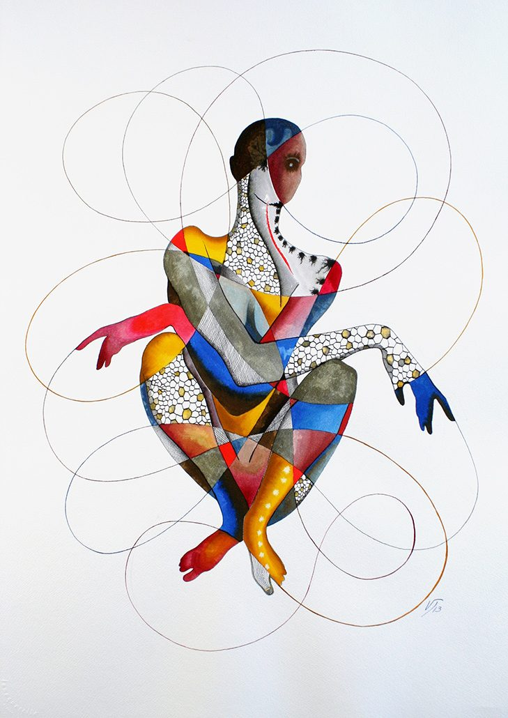 Vanessa Thyes, Angelika (2013), 56 x 76 cm, acquerello, lapis, china su carta