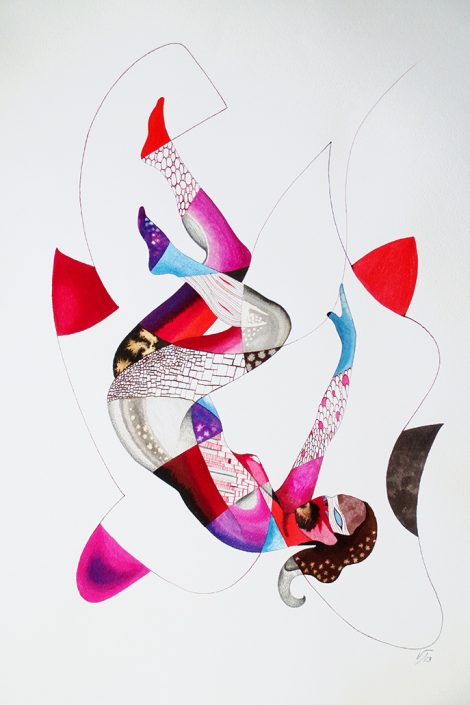Vanessa Thyes, Diabolika (2013), 56 x 76 cm, watercolors, pencil and ink on paper