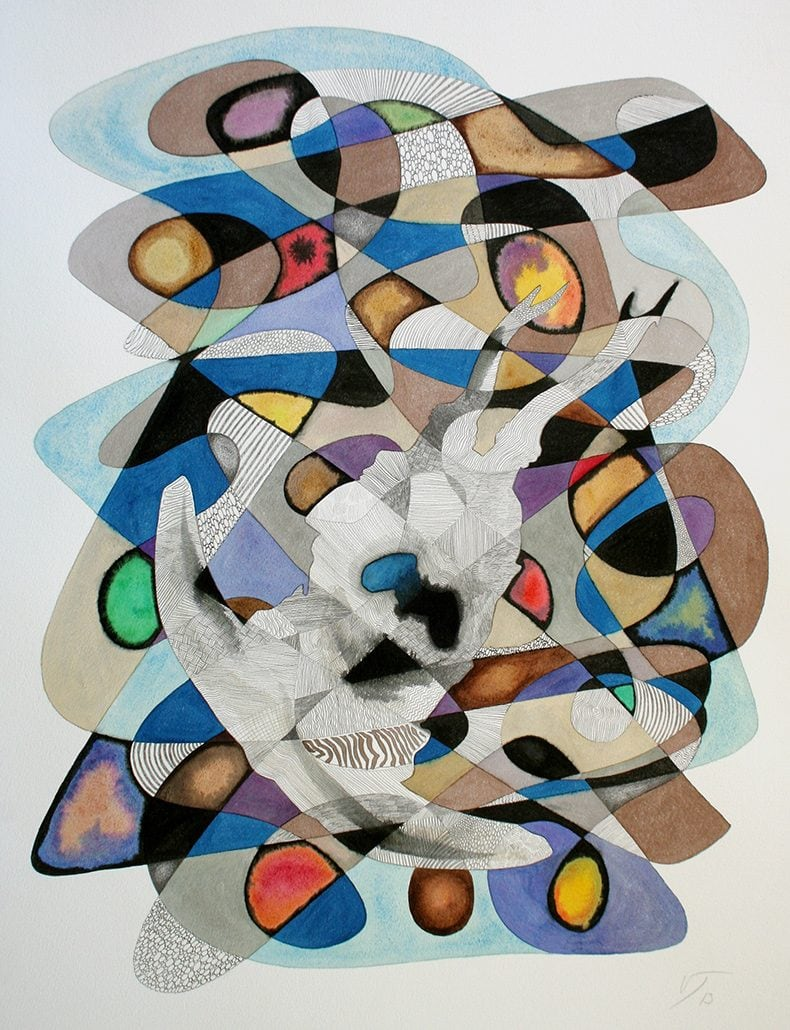 Vanessa Thyes, Nebulosa I (2013), 56 x 76 cm, watercolors, pencil and ink on paper