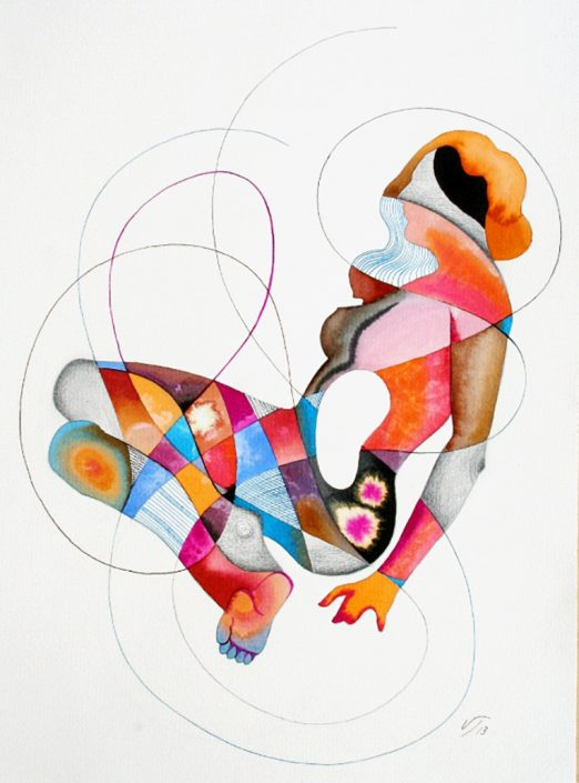 Vanessa Thyes, Piccolo nudo meandrico (2013), 30 x 40 cm, watercolors, pencil and ink on paper
