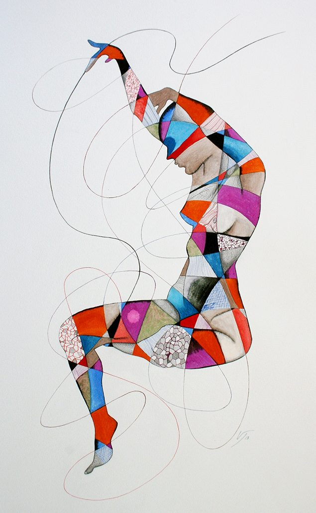Vanessa Thyes, Souldancer (2013), 65 x 76 cm, watercolors, pencil and ink on paper