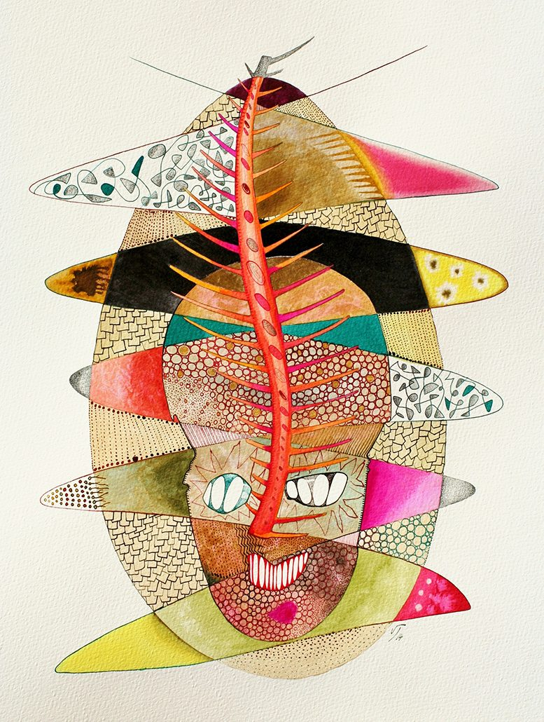 Vanessa Thyes, Beffa (2014), 40 x 50 cm, acquerello, lapis, china su carta