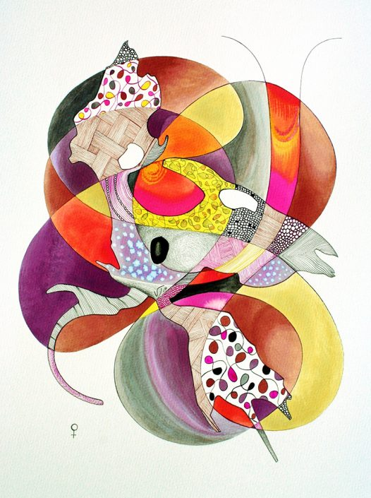 Vanessa Thyes, Coppia femmina (2014), 40 x 50 cm, watercolors, pencil and ink on paper