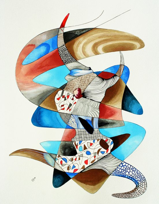 Vanessa Thyes, Coppia maschio (2014), 40 x 50 cm, watercolors, pencil and ink on paper