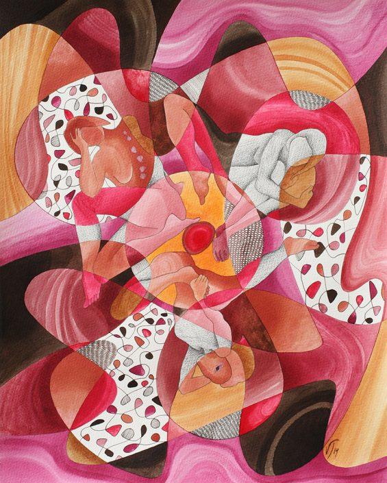 Vanessa Thyes, Geometria femminile I (2014), 40 x 50 cm, watercolors, pencil and ink on paper
