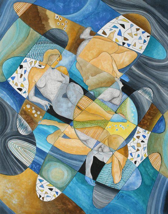 Vanessa Thyes, Geometria femminile II (2014), 40 x 50 cm, watercolors, pencil and ink on paper