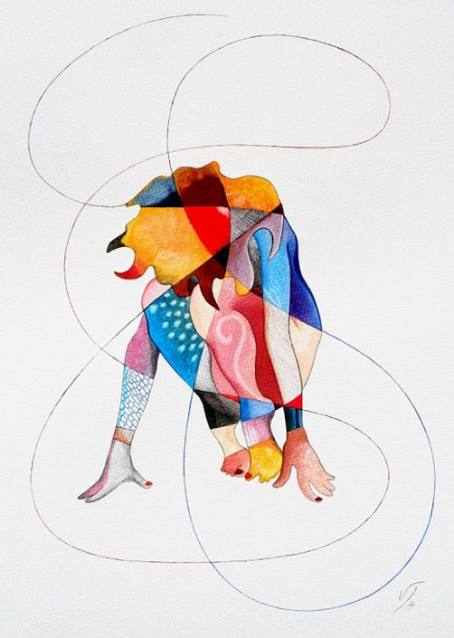 Vanessa Thyes, Souldancer Born (2014), 40 x 50 cm, watercolors, pencil and ink on paper