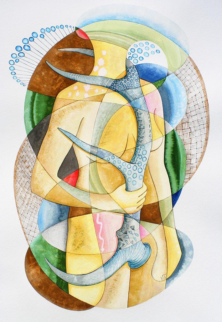 Vanessa Thyes, Abbraccio (2015), 56 x 76 cm, watercolors, pencil and ink on paper