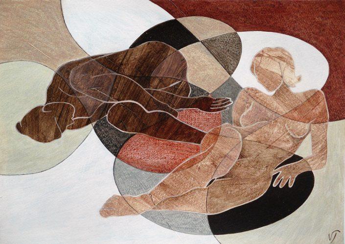 Vanessa Thyes, Diaologo silenzioso (2016), 35,5 x 25,4 cm, tempera on paper