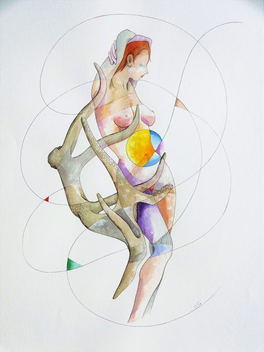 Vanessa Thyes, In Apnea (2016), 56 x 76 cm, watercolor and pencil on paper