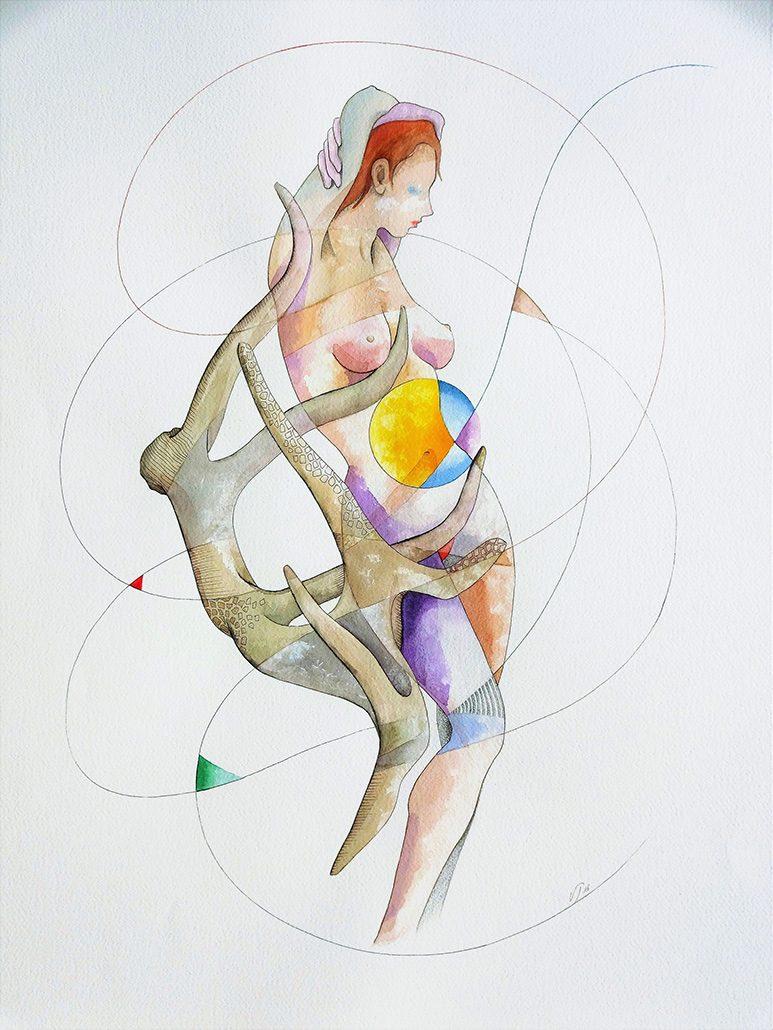 Vanessa Thyes, In Apnea (2016), 56 x 76 cm, watercolor and pencil on paper