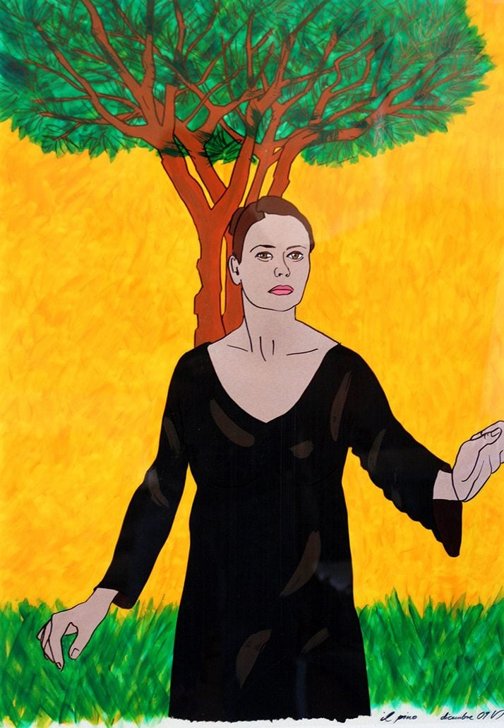 Vanessa Thyes, Il pino (2010), 50 x 70 xm, tecnica mista su acetato