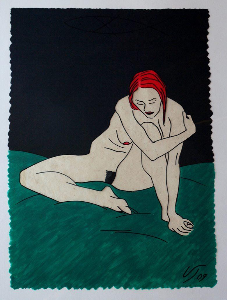 Vanessa Thyes, Nudo veloce nippona (2011), 50 x 70 cm, tecnica mista su acetato