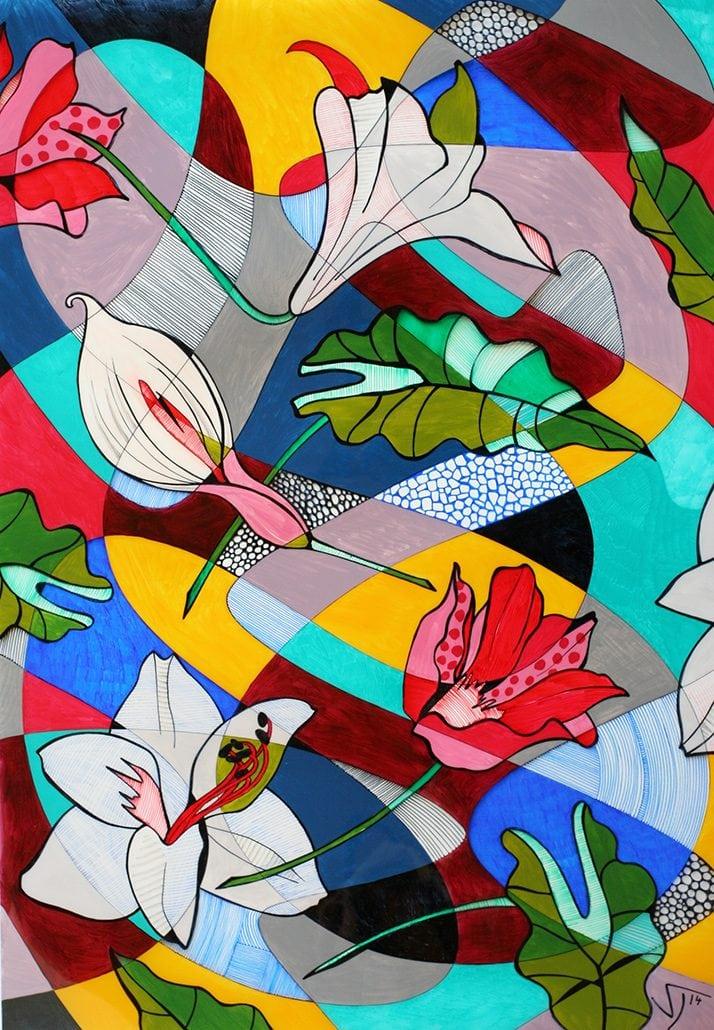 Vanessa Thyes, Fiori in fuga (2014), 50 x 70 cm, tecnica mista su acetato