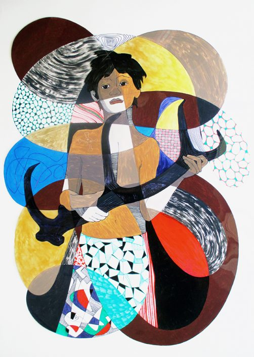 Vanessa Thyes, Shaman Agu (2014), 70 x 100 cm, mixed technique on acetate