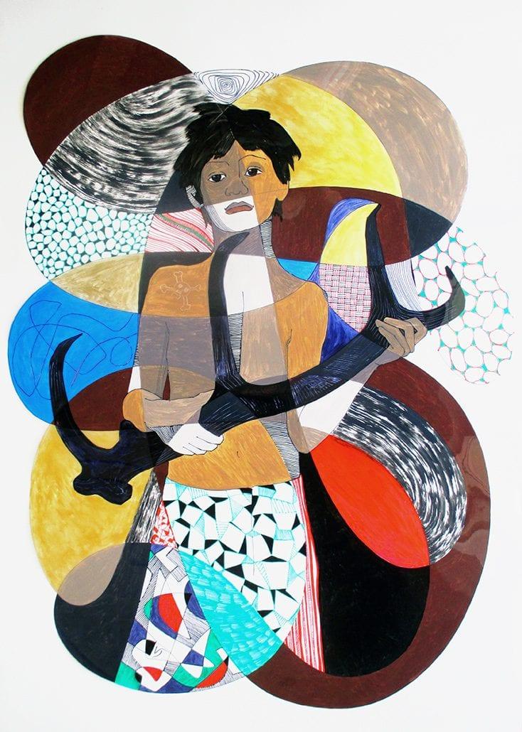 Vanessa Thyes, Shaman Agu (2014), 70 x 100 cm, tecnica mista su acetato