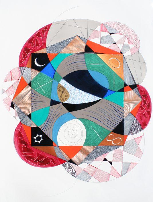Vanessa Thyes, Iniziazione (2015), 70 x 100 cm, mixed technique on acetate