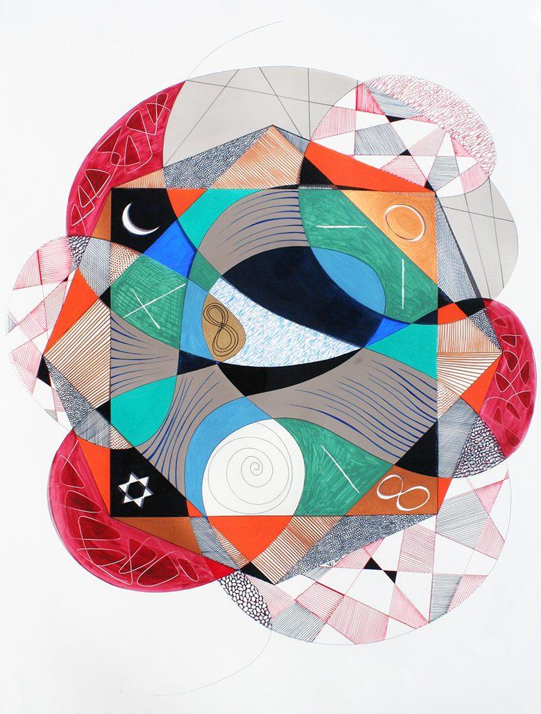 Vanessa Thyes, Iniziazione (2015), 70 x 100 cm, tecnica mista su acetato