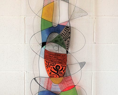 Vanessa Thyes, Su due mani (2015), 50 x 150 cm, mixed technique on acrylic glass