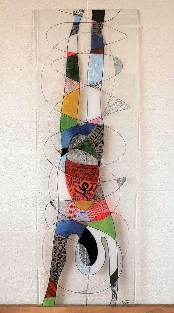 Vanessa Thyes, Su due mani (2015), 50 x 150 cm, tecnica mista su acrilico