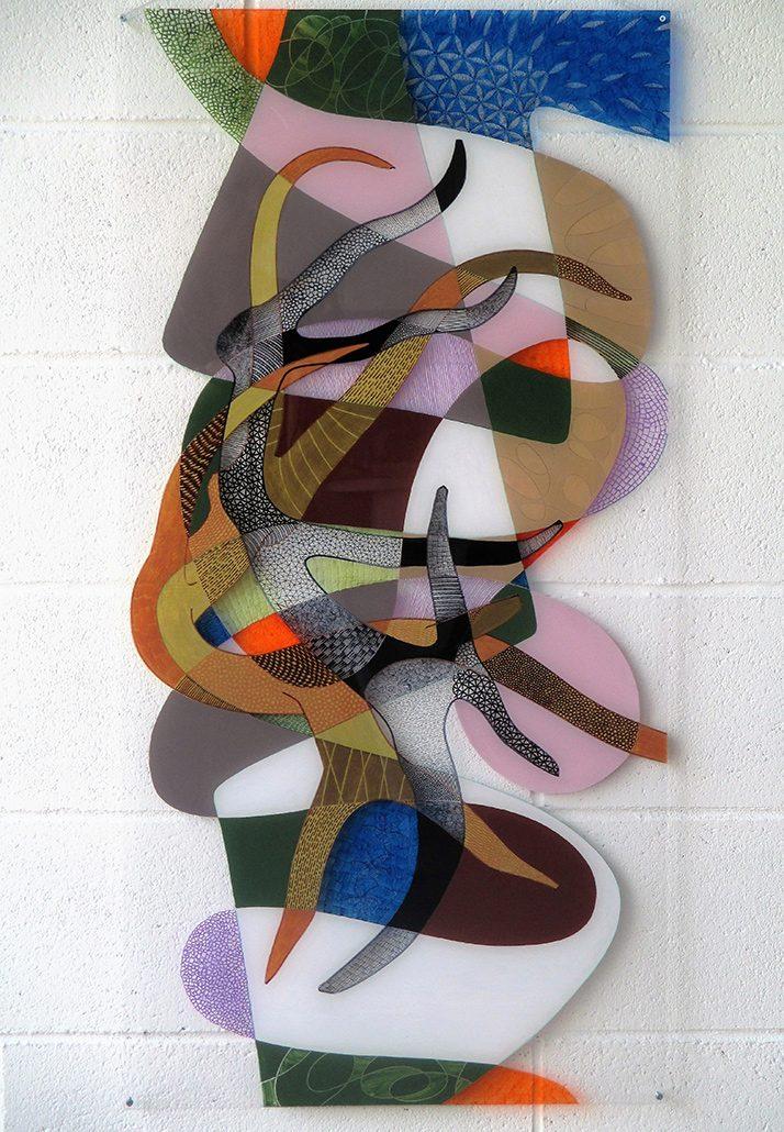 Vanessa Thyes, Embrace (2016), 50 x 100 cm, tecnica mista su acrilico