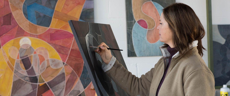 Vanessa Thyes nel suo studio. Foto di Enikö Lörinczi 2017