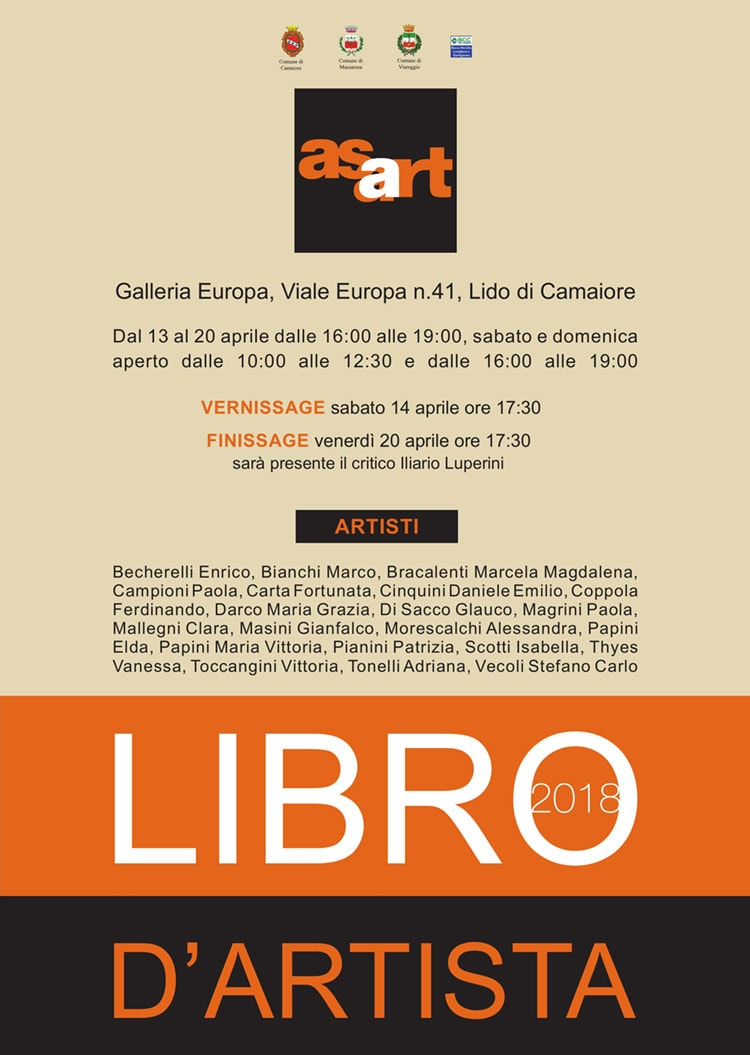 BOOKWORKS – First edition – GROUP EXHIBITION OF ASART (artists' association of Pietrasanta), Galleria Europa, Lido di Camaiore 2018