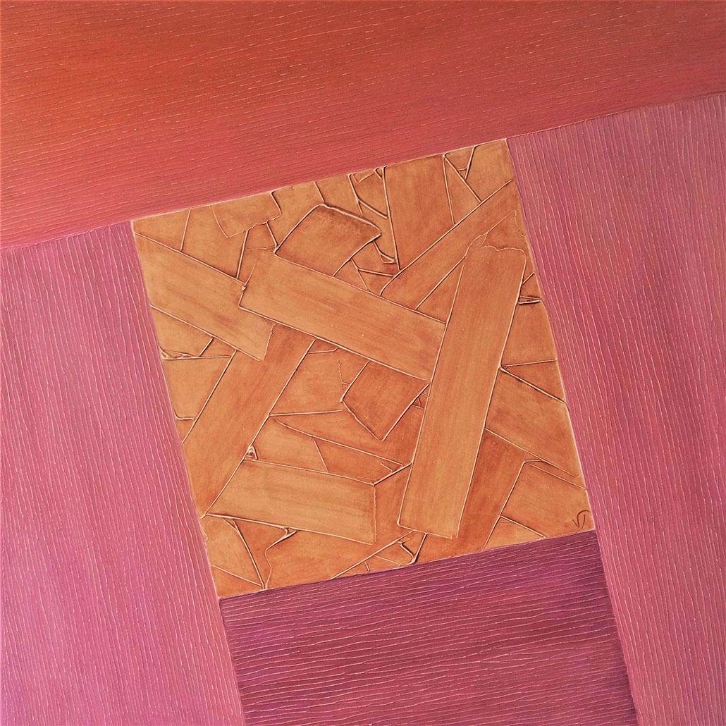 Vanessa Thyes, Canyon Horizons (2018), 80 x 80 cm, tempera su tela