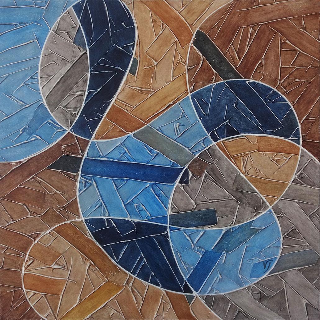 Vanessa Thyes, Drops (2019), 60 x 60 cm, tempera su tela
