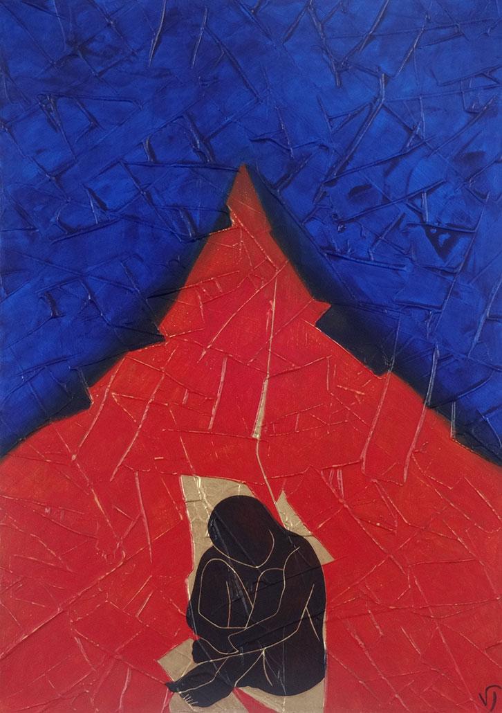Vanessa Thyes, Esicasta (2020), 80 x 60 cm, tempera su tela