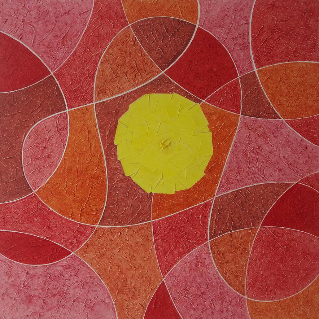 Vanessa Thyes, Fireball (2020), 90 x 90 cm, tempera su tela